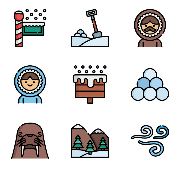 winter design elements icons