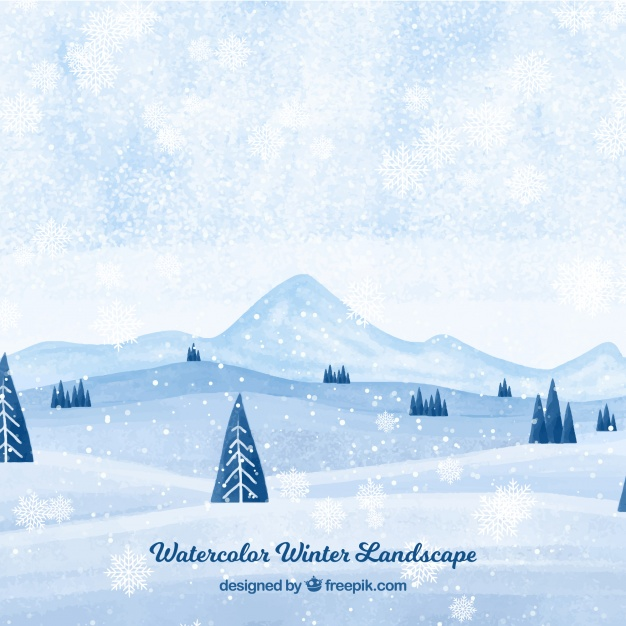 watercolor winter landscape design