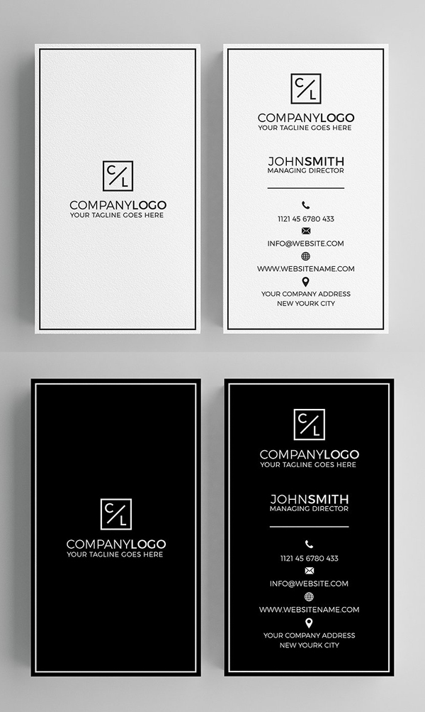 25 Minimal Clean Business Cards (PSD) Templates - iDevie