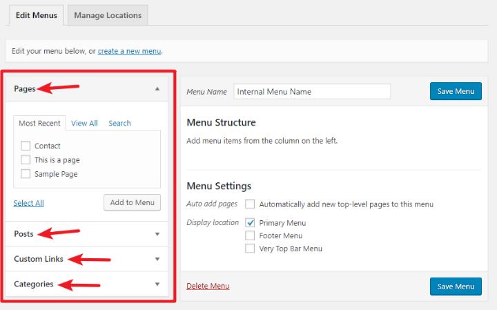 add new menu items to wordpress