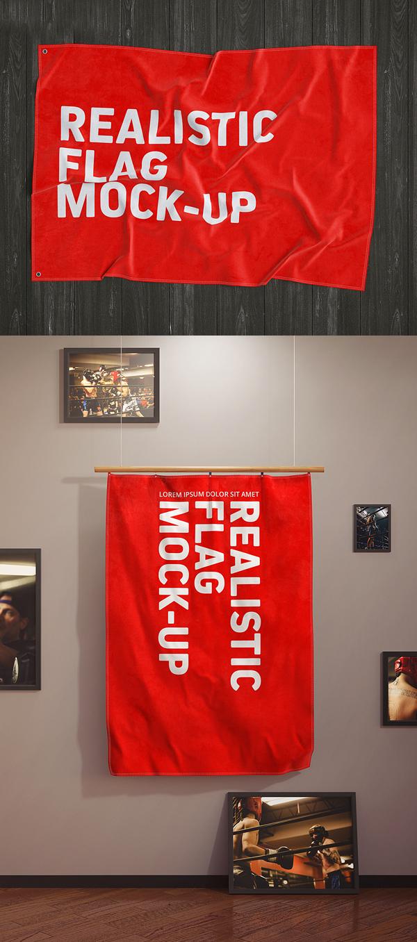 Free 3D Flag Mockup Scene