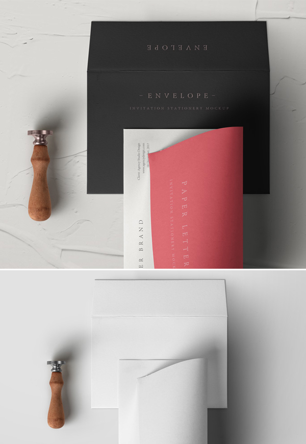 Free Psd Invitation Envelope Mockup