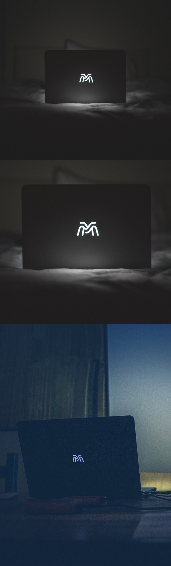 Free Backlight Macbook Logo Mockup
