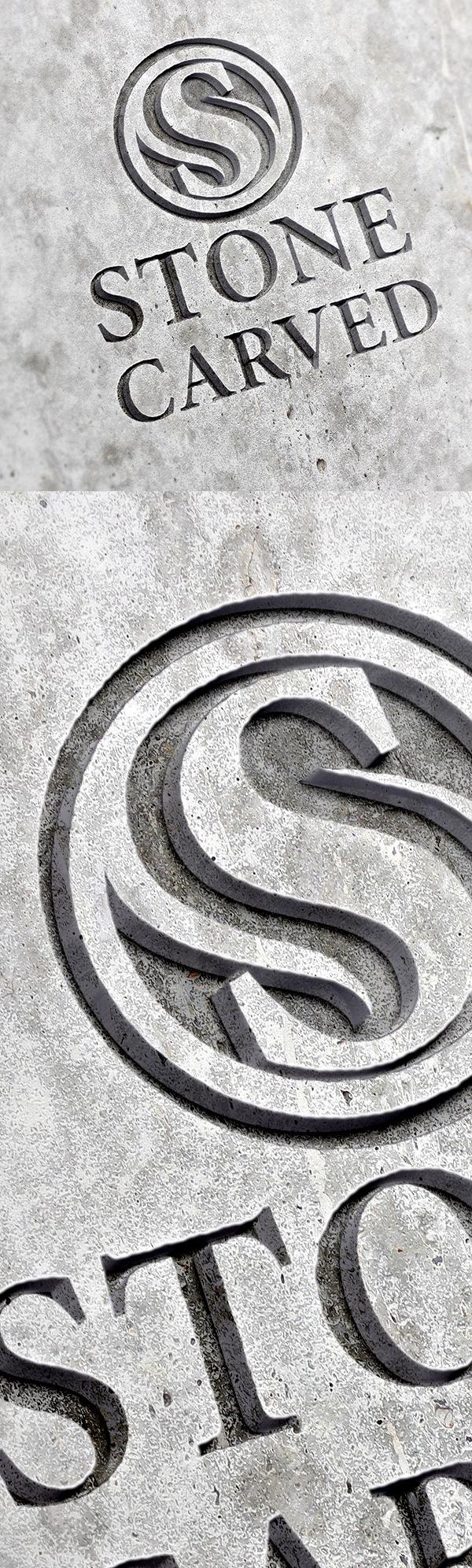 Free Carved Stone Logo Mockup PSD
