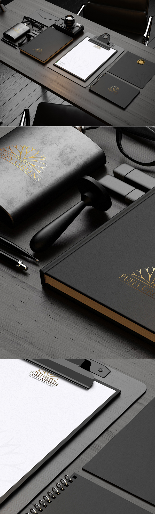 Dark Stationery Mockup PSD Free Download