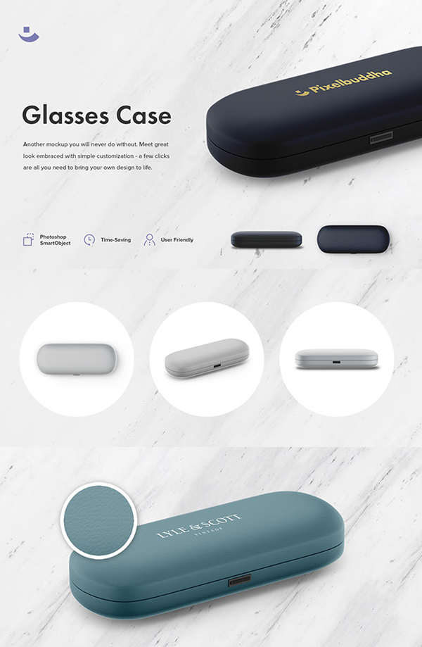 Free Glasses Case Mockup Set