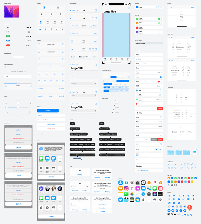 iOS 11 UI kit - Light version preview