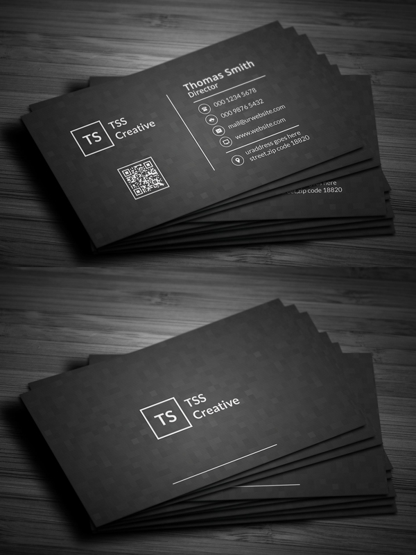 Modern Dark Pixels Business Card