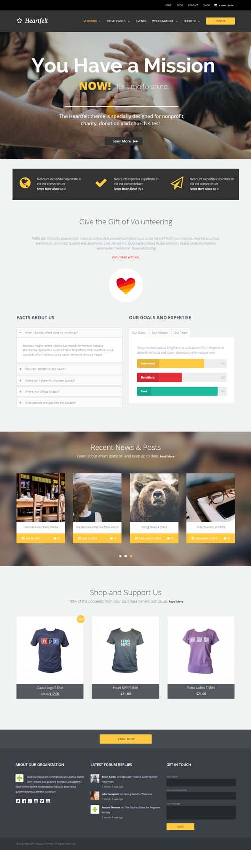 Heartfelt: Multipurpose Responsive WordPress Theme