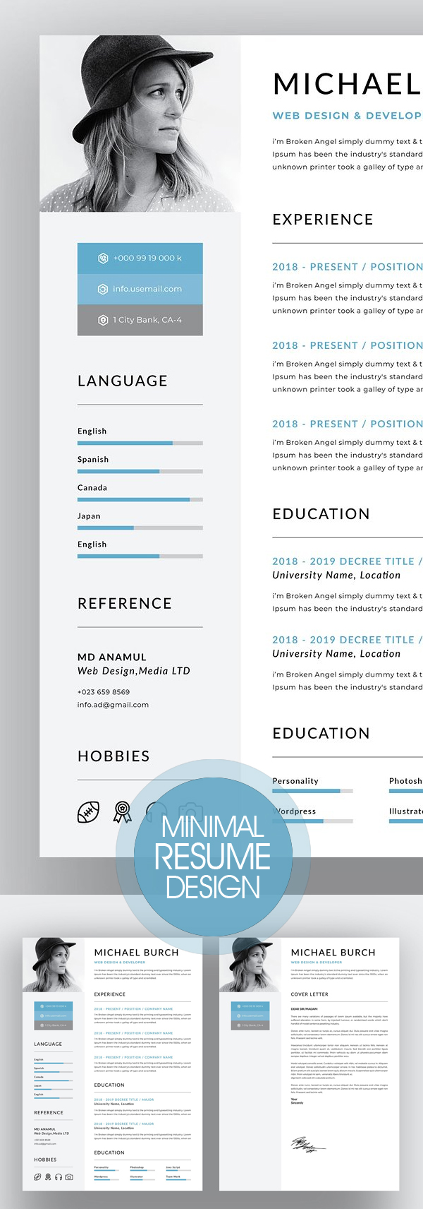 Creative Minimal Resume Design 2018