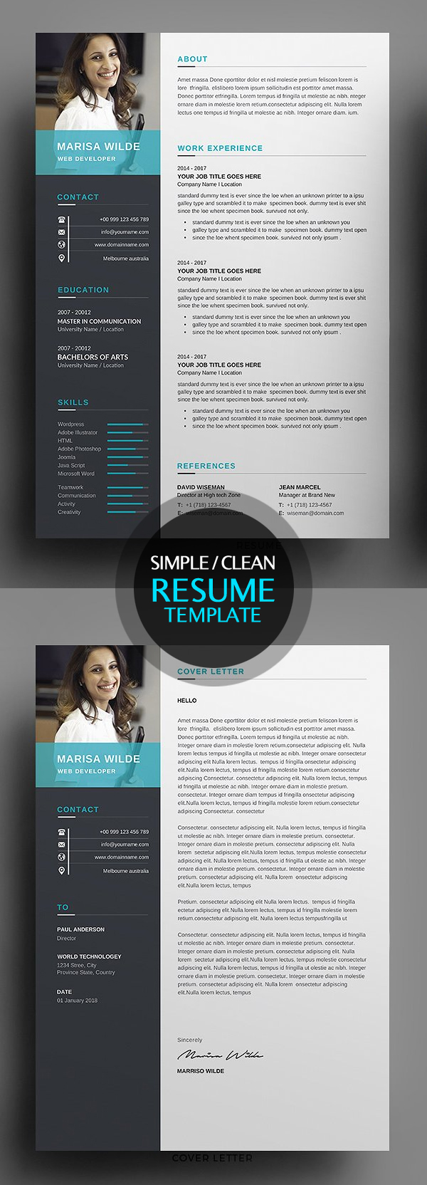 Clean Resume/CV Template 2018