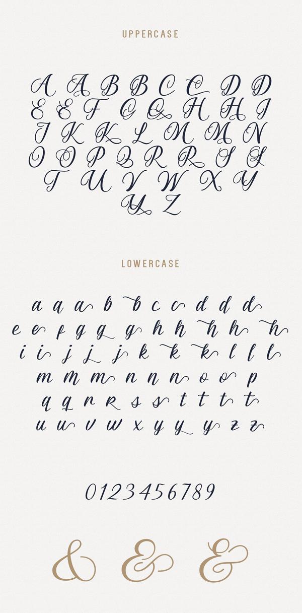 Almyra Script font letters