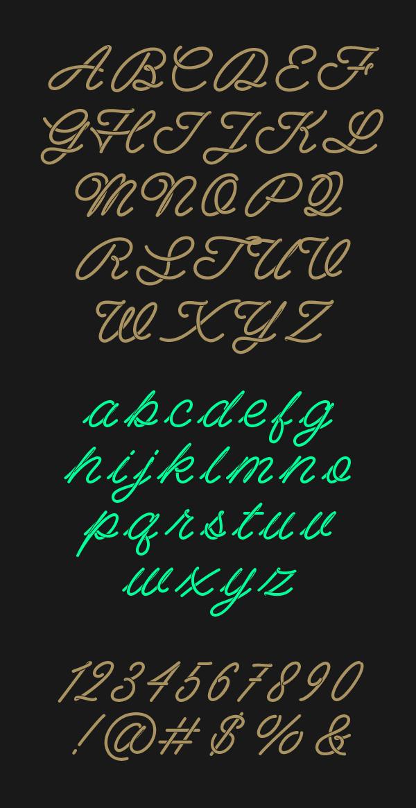 Barista Script font letters