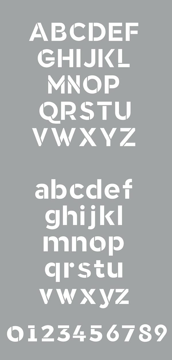 Crafto Stencil font letters