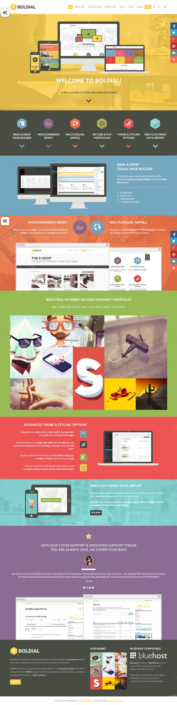Boldial WP – Flat Creative Theme with 3D Portfolio