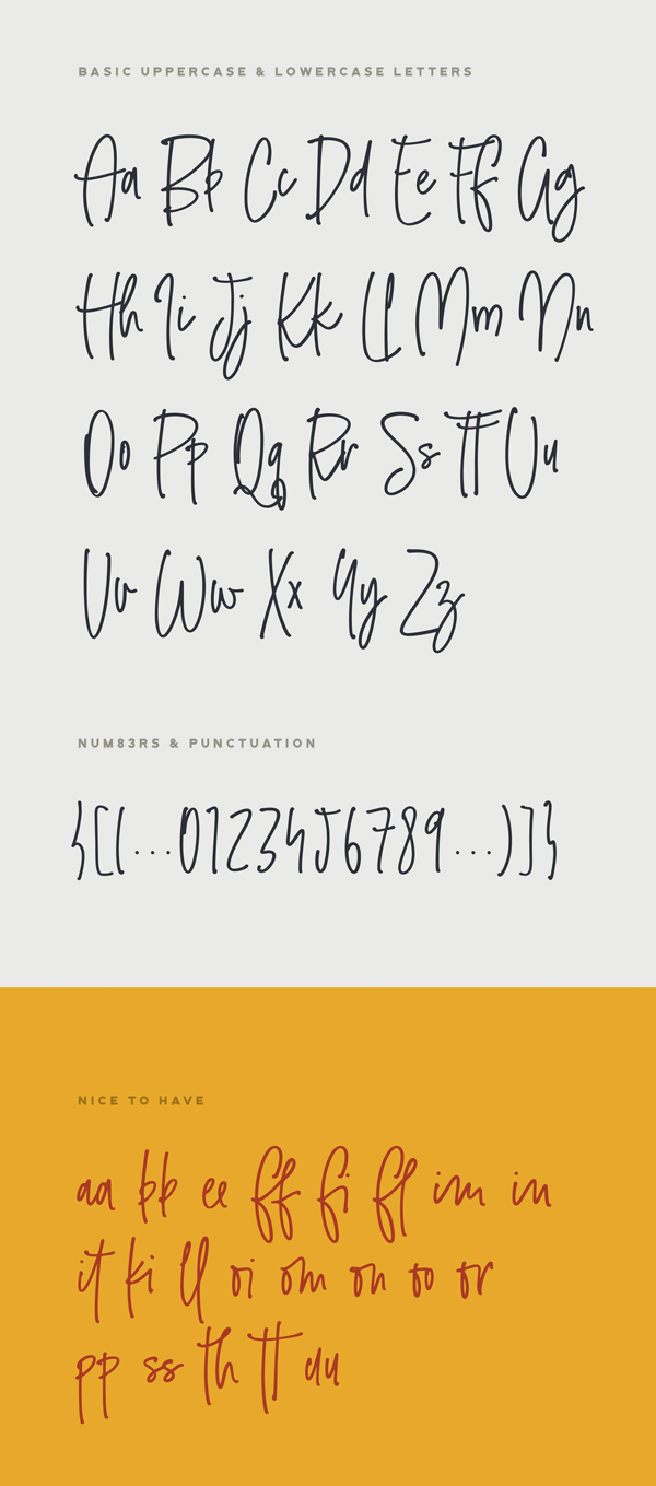 Smooth Stone Handwritten font letters