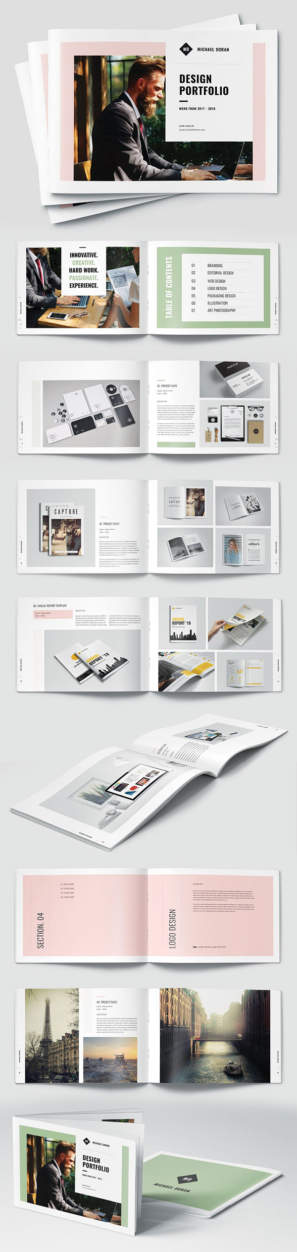 Graphic Design Portfolio Landscape Brochure Template