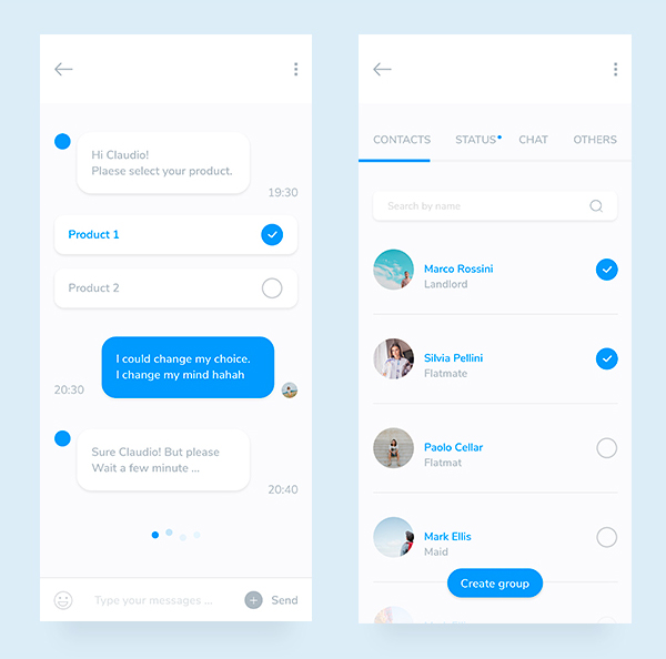 Free Mobile Chat App UI Design
