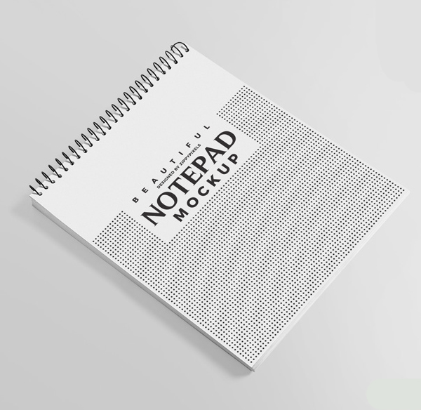 Free and Charming Ringed Notepad Mockup