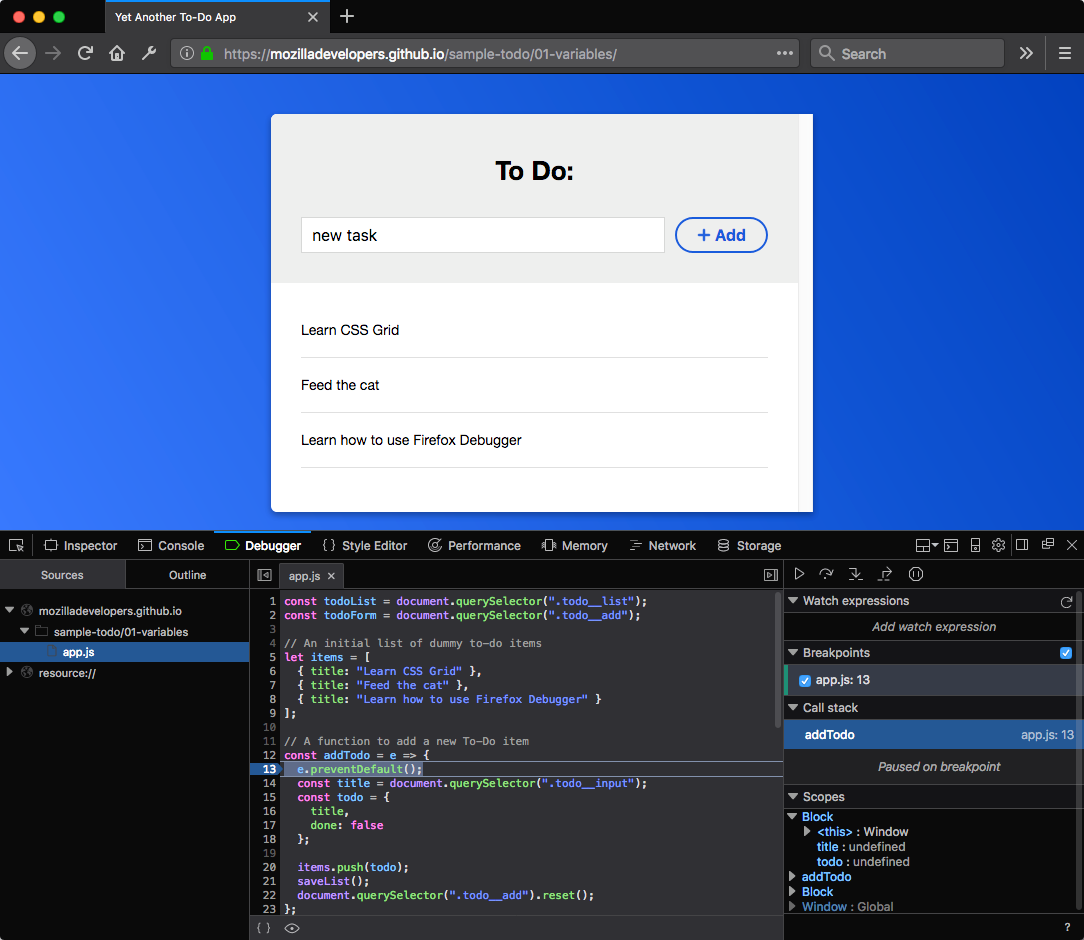 javascript debugger firefox