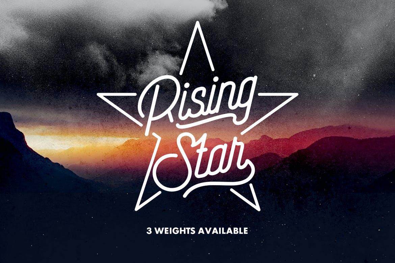 handwritten font rising star