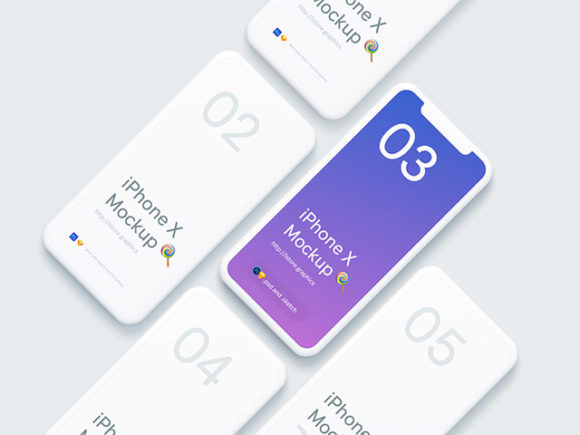 Minimal iPhone X isometric mockups