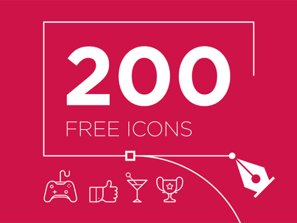Free set of 200 vector icons for Illustrator