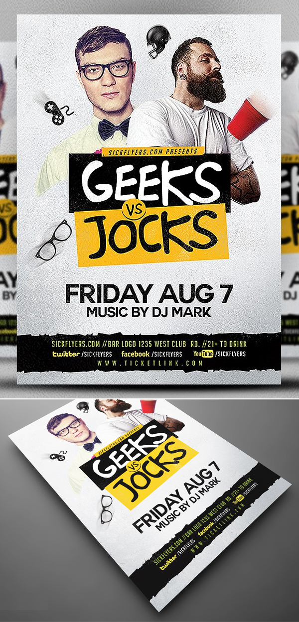 Geeks & Jocks Flyer Template