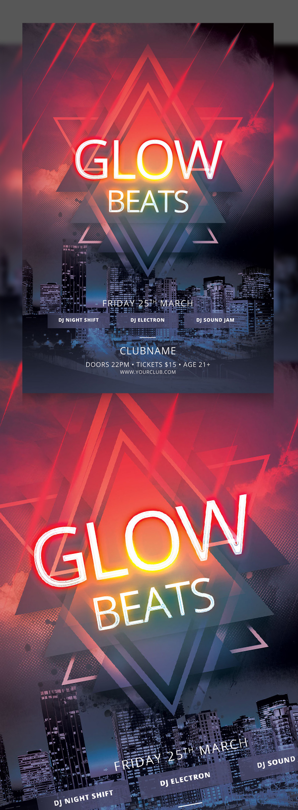 Glow Beats Flyer Template