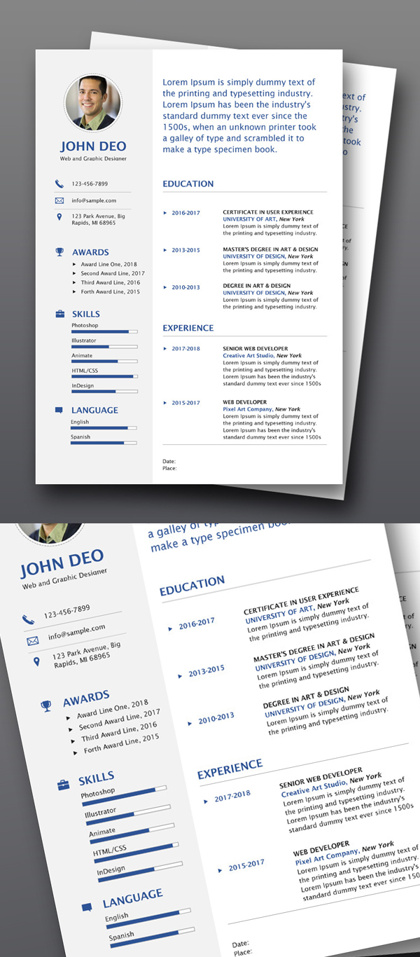Freebie: Illustrator Resume Template