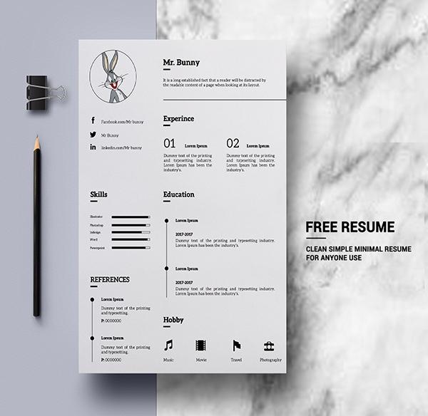 Freebie: Clean Simple Minimal Resume Template