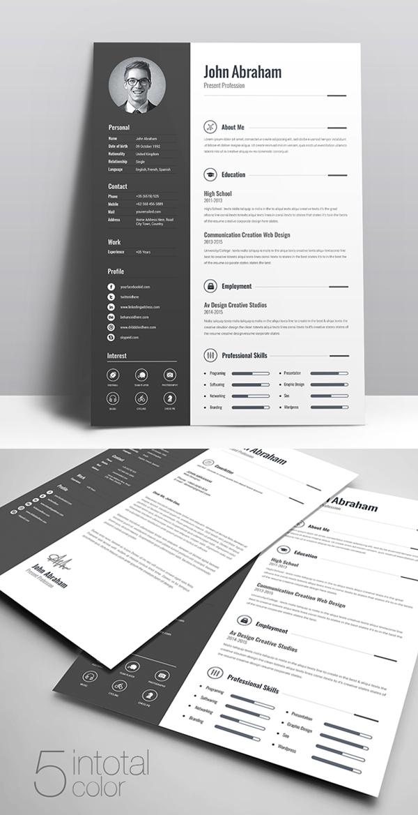 Freebie: Minimal Creative Clean Resume Free Download