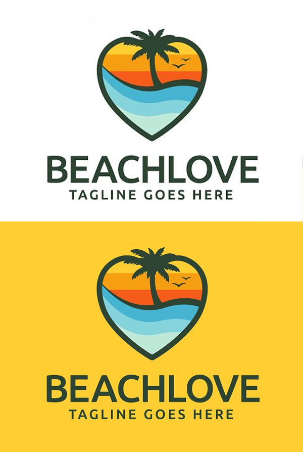 Beach Love Logo Template