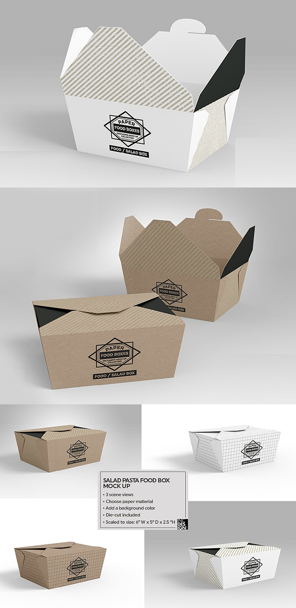 Salad Food Box Packaging Mock Up