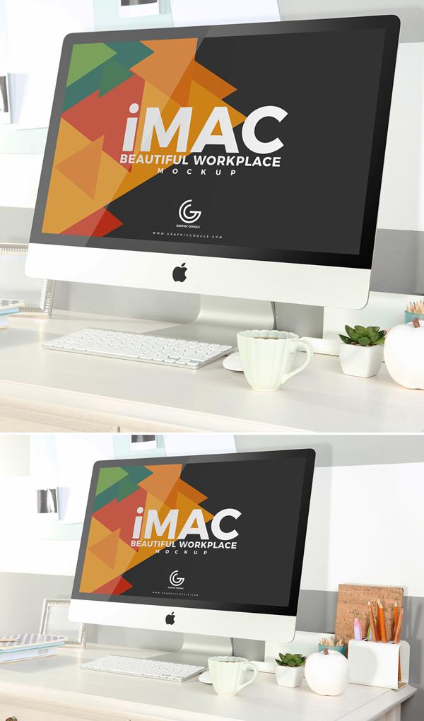Free Beautiful Workplace iMac Mockup 2018