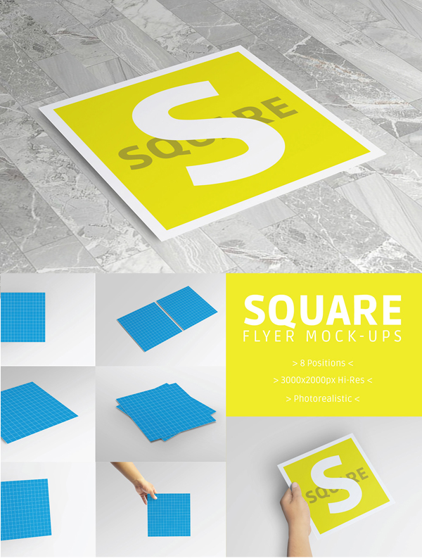 Free Square Flyer Mockup PSD Template