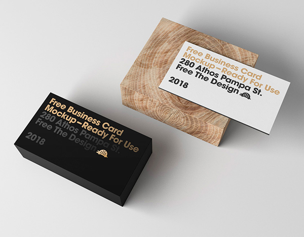 Free Business Card Display Mockup