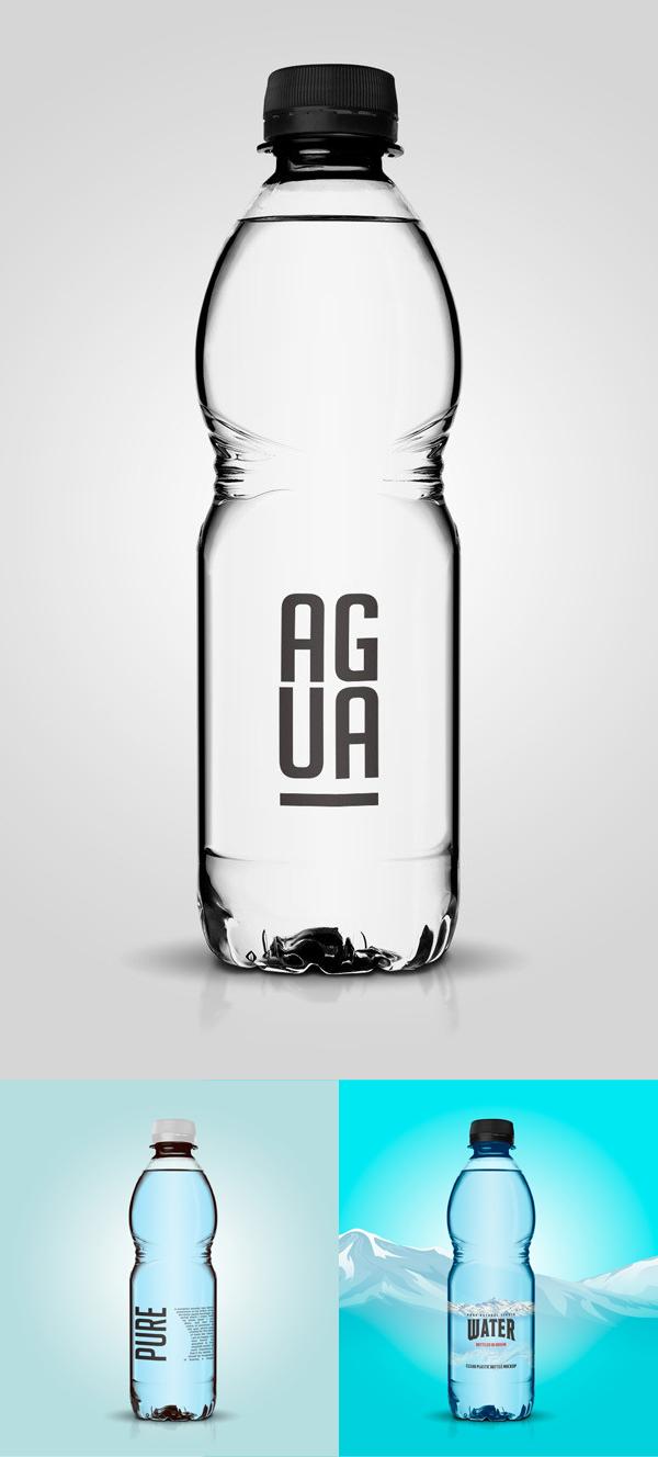 Free Clear Plastic Bottle Mockup