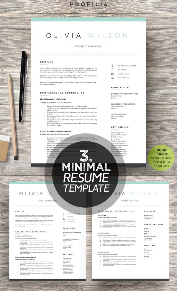 25 best minimalism resume templates 2018