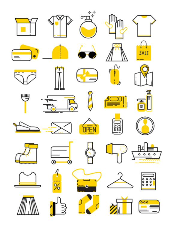 40 Cloths & shopping vector icons - Preview