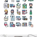 50 Free Pharmacy Icons (Linear, Flat, Linear Colored)