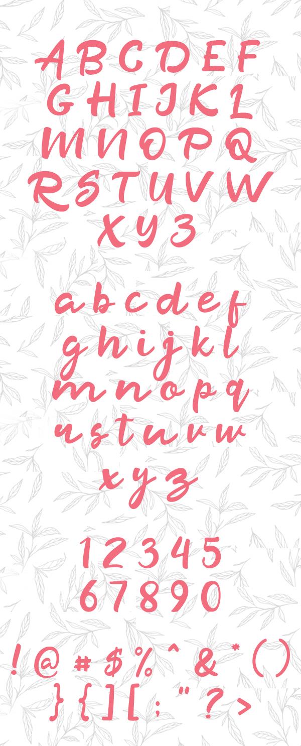 Razan Script Font Letters