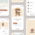 Coffee app design template for Sketch
