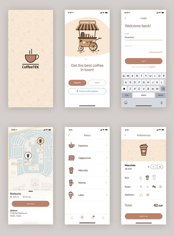 Coffee app design preview