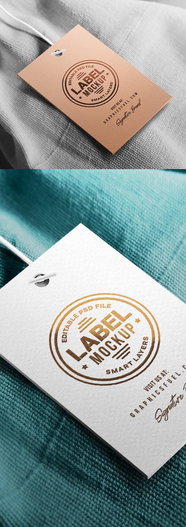 Free Clothing Hang Tag Mockup PSD