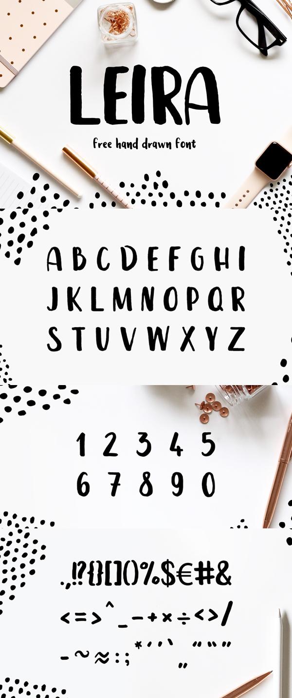 Leira - Free Hand Drawn Brush Font