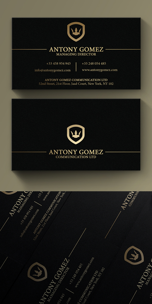 Simple Gold And Black Business Card