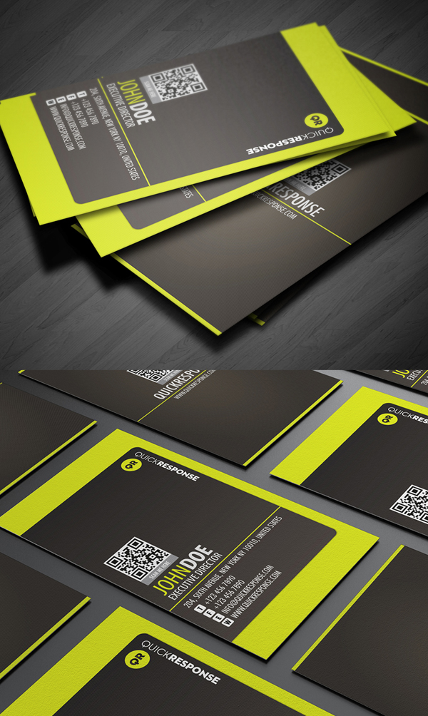 Neon Lime Green Business Card Design