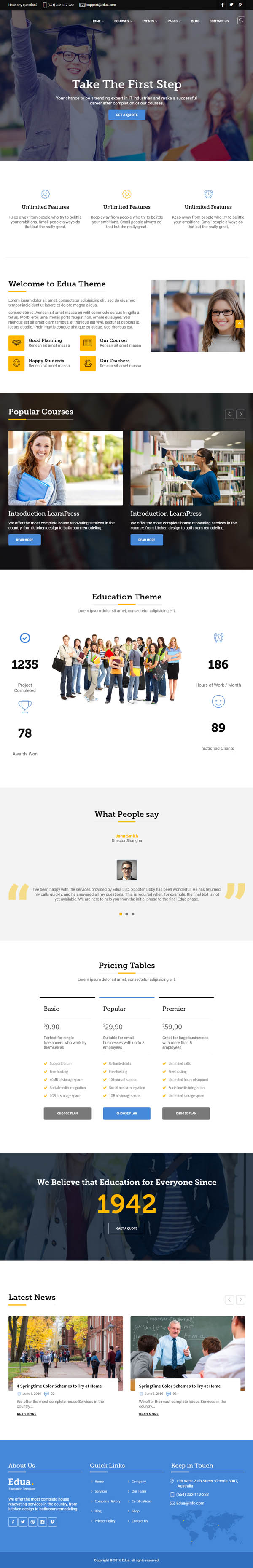 Edua – Educational HTML5 Template