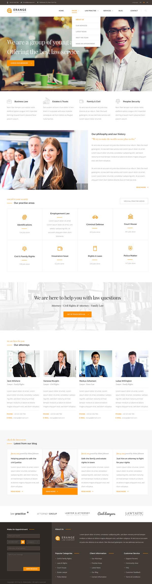 Erange- Responsive HTML Template for Law Firm